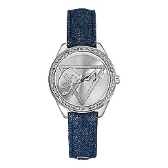 Guess - Women's blue denim strap watch with silver dial