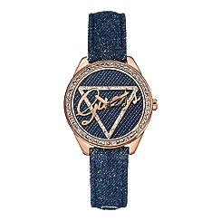 Guess - Women's blue denim strap watch with denim dial