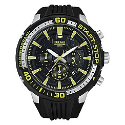 Pulsar - Men's black chronograph sports strap watch Green dial