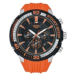 Pulsar - Men's black chronograph sports strap watch orange dial
