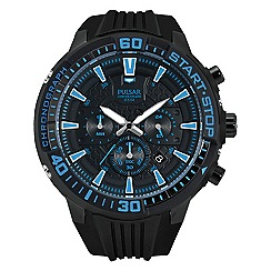 Pulsar - Men's black chronograph sports strap watch blue dial