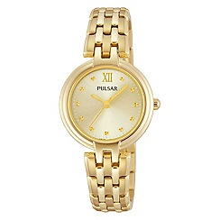 Pulsar - Ladies gold plate dress watch with champagne dial