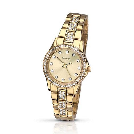 Sekonda - Ladies gold plated stone set bracelet watch 2020.28