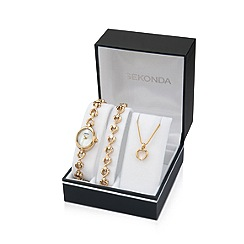 Sekonda - Ladies two-tone stone set gift set