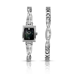 Sekonda - Ladies chrome coloured watch and matching bracelet gift set