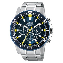 Lorus - Mens blue dial stainless steel chronograph watch