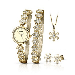 Sekonda - Ladies gold plated 5 piece snowflake style gift set