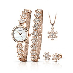 Sekonda - Ladies rose gold plated 5 piece snowflake style gift set