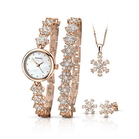 Sekonda La s rose gold plated 5 piece snowflake style t set