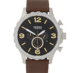Fossil - Men's brown leather chronograph watch