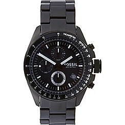 Fossil - Men's black stainless steel chronograph watch