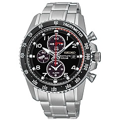 Seiko - Men's solar chronograph silver watch