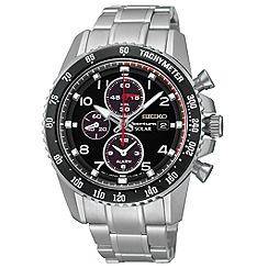 Seiko - Men's solar chronograph silver watch