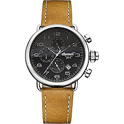 Ingersoll - Men's black dial quartz leather strap watch
