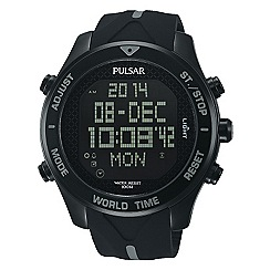Pulsar - Men's black Ion plated stainless streel digital strap watch