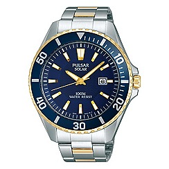 Pulsar - Men's solar two tone bracelet watch