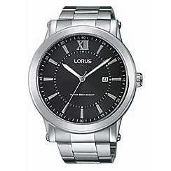Lorus - Gents Stainless Steel black dial bracelet watch