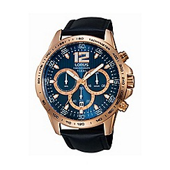 Lorus - Gents rose gold case chronograph on black leather strap rt312ex9