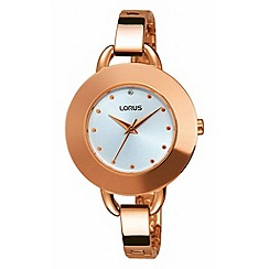 Lorus - Ladies rose gold sunray white dial bracelet watch