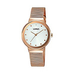 Lorus - Ladies rose gold sunray white dial mesh bracelet