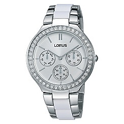 Lorus - Ladies white & silver wrap multidial bracelet watch