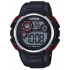 Lorus - Gents black silicone strap digital watch