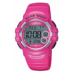 Lorus - Ladies pink patent polyurethane strap digital watch