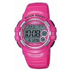 Lorus - Ladies pink patent polyurethane strap digital watch r2325kx9