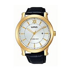Lorus - Gents gold case black leather strap watch