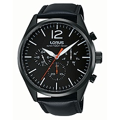 Lorus - Gents multi dial black leather strap watch