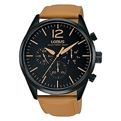 Lorus - Gents multi dial tan leather strap watch