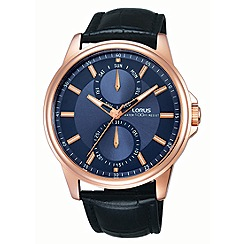 Lorus - Gents rose gold case black leather strap