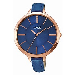 Lorus - Ladies rose gold large case blue leather strap watch