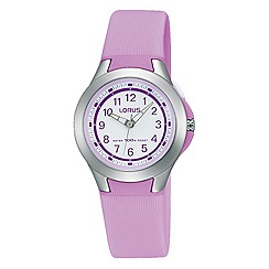 Lorus - Childrens' lilac resin strap watch with backlight