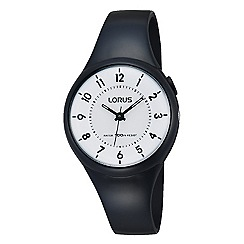Lorus - Childrens' black polyurethane strap watch