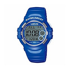 Lorus - Large electric blue polyurethane strap digital watch