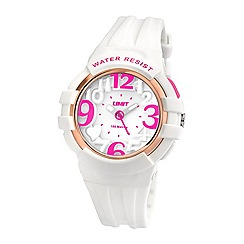 Limit - Ladies white plastic heart motif strap watch