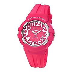 Limit - Ladies pink plastic heart motif strap watch