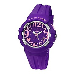 Limit - Ladies purple plastic heart motif strap watch