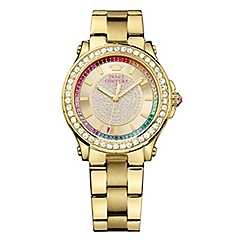 Juicy Couture - Ladies gold plated bracelet watch with rainbow crystal dial