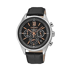 Seiko - Men's chronograph leather strap watch