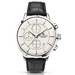 Accurist - Mens stainless steel leather strap watch
