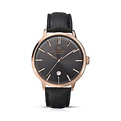 Accurist - Mens rose gold plated leather strap watch