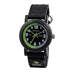 Tikkers - Time teacher black skull velcro watch