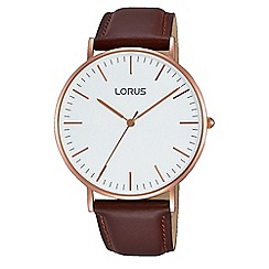 Lorus - Gents black leather strap watch