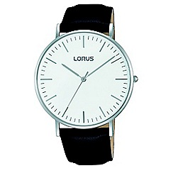 Lorus - Gents rose gold case brown leather strap watch