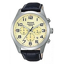 Pulsar - Men's cream chronograph strap watch