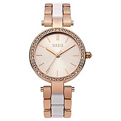 Oasis - Ladies rose gold and nude bracelet watch