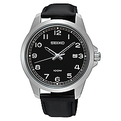 Seiko - Men's quartz black strap watch