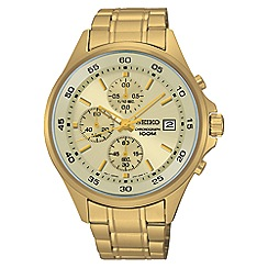 Seiko - Men's gold quartz chronograph bracelet watch